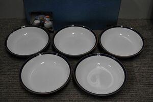 ■波佐見焼/白山陶器■ブルーライン■スープボールセット■取皿/丸皿■未使用品■