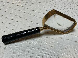 マリウスパット クロコダイル革ルーペ拡大鏡ワニ鰐クロコ虫眼鏡ハンドル付き虫メガネわに皮アリゲーターレザー眼鏡ハンドルーペ虫めがね黒