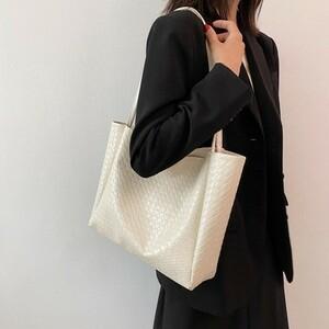 大容量サマー編みバッグ女子の高級感ワンショルダートートバッグ