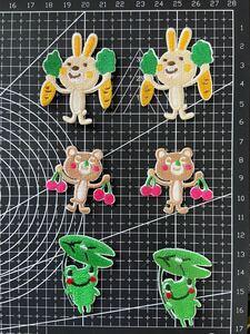6枚入 可愛い動物刺繍アイロンワッペンまとめ