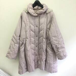 洋服 Three Flora スリーフローラ 3Lサイズ コート 詰物:ダウン80%/フェザー20% 一部ラビットファー 女性 婦人 レディースファッション