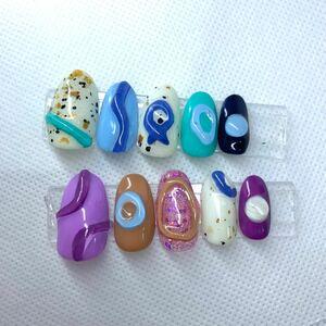 ネイルチップ 付け爪 ポップ パステル 韓国 ぷっくりネイルネイルチップ 付け爪