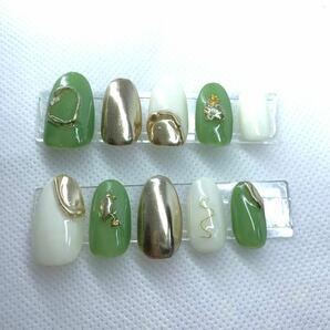 ネイルチップ ジェルネイル ジェル ピスタチオカラー ニュアンスネイル グリーン ゴールド ホワイトネイルチップ 付け爪