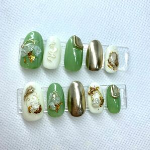 ネイルチップ ジェルネイル ネイルアート ピスタチオカラー 成人式 ゴールドネイルチップ 付け爪