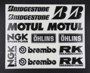 【新品】Bridgestone MOTUL NGK brembo OHLINS BS ブリジストン デカールです♪ M228