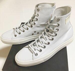 GUCCI ロゴ ハイカット スニーカー 新品 43 ハーフ WHITE グッチ Leather Hi cut logo Sneaker ハイ レザー ホワイト 白