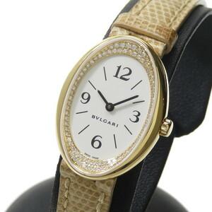 BVLGARI/ブルガリ OV32G オーバル インナーダイヤ 腕時計 ステンレススチール クオーツ ホワイト文字盤 ベージュ革ベルト レディース