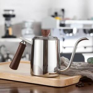 Nf019:ドリップケトル コーヒーポット スワンネック ドリップ コーヒー ティー ポット ミルク泡立て 木製 ギフト