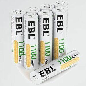 新品 未使用 単4電池 EBL 4-M8 単四電池 充電池 充電式電池 1100mAhニッケル水素充電式電池、収納ケ-ス付き8パック