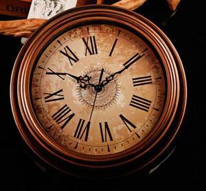 リビング レトロ 壁掛け時計 アンティーク調ウォールクロック インテリア 寝室 おしゃれ ブラウン/茶色