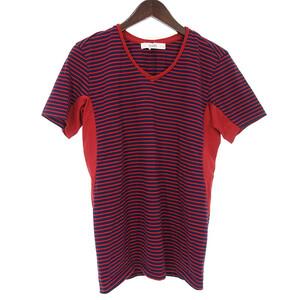 バデル/VADEL ボーダー Vネック Tシャツ メンズ46 レッド×ネイビー