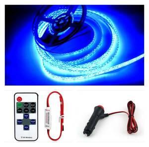 簡単接続!フルセット 5m 600連 LEDテープライト ブルー(青) 12V防水 多機能リモコン+シガーソケットプラグ付き アンダーネオン カスタム