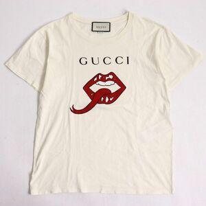 極美品□19SS GUCCI グッチ 493117 リッププリント クルーネック 半袖Tシャツ アイボリー XS イタリア製 正規品