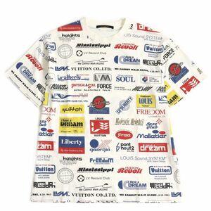 良品▽19SS ルイヴィトン 1A5DGH オールオーバーロゴプリンテッド クルーネック 半袖 Tシャツ ホワイト M イタリア製 正規品 メンズ