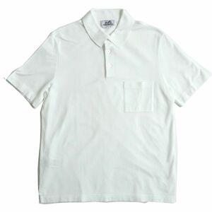 極美品△正規品 HERMES エルメス 鹿の子地 Hロゴ刺繍入り コットン100% 半袖 ポロシャツ ホワイト/BLANC M イタリア製 メンズ シンプル◎