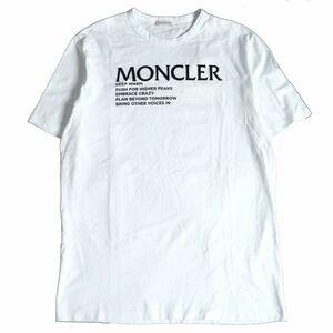 未使用品□21SS MONCLER/モンクレール ロゴデザイン/ロゴワッペン付き コットン100% クルーネック 半袖Tシャツ ホワイト L 正規品