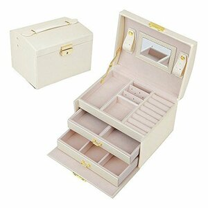 ホワイト SZTulip ジュエリーボックス アクセサリーケース ジュエリー収納 大容量 鏡 鍵付き小物入れ トレイ付き 宝石箱