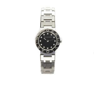 ブルガリ ブルガリブルガリ 12P ダイヤ BB23SS シルバー ステンレススチール 腕時計 レディース BVLGARI クオーツ ブラック文字盤 中古