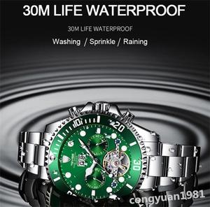 【人気】 メンズ高級腕時計 機械式自動巻 トゥールビヨン カレンダー 曜日表示 夜光 防水 紳士ウォッチ 仕事 6色選択 G/B
