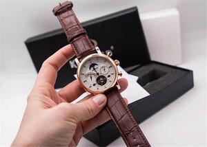 【人気】 メンズ腕時計 機械式 自動巻き カレンダー 曜日表示 トゥールビヨン サンアンドムーン 本革ベルト 男性ウォッチ 防水