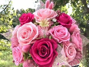 プリザーブドフラワーアレンジ ピンク系 結婚祝 新築祝 開店祝 還暦祝 誕生日プレゼントなど 癒しにも