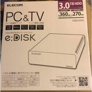 ★新品未使用★エレコム 3TB USB3.0 外付けハードディスク ELD-XED030UBK 外付けHDD