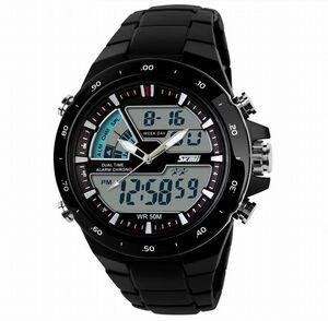 ■高速発送■新品♪50m防水デジアナSKMEIデザイン腕時計★ブラック【メンズレディース人気ブランド金運初売り新春2021福袋】