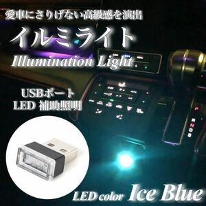 【即日発送】USB イルミライト 車内 アイスブルー LED イルミネーション 車内照明 室内夜間ライト USBポート カバー 防塵 おしゃれ