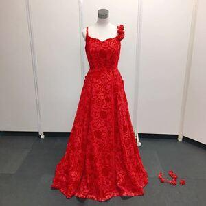 【中古】STEFANO RICCI ウェディングドレス カラードレス FY300 レッド サイズ15T フラワーモチーフ レース ベロア No.21