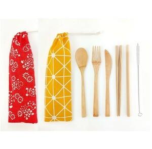 カトラリーセット 竹製 ポータブル 袋付 赤黄 和柄