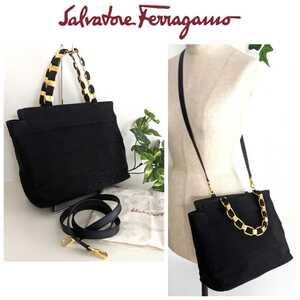 美品 Ferragamo フェラガモ チェーン ヴァラ 2way ショルダーバッグ 鞄 ミニバッグ トート ハンドバッグ フリル 黒 ブラック ゴールド