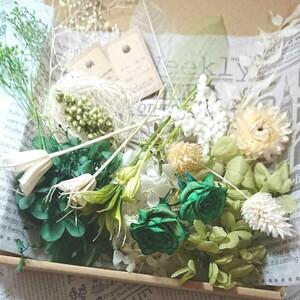 ハーバリウム花材プリザーブドフラワー エレガントグリーンホワイト大きめbox