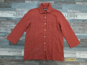 〈送料280円〉LANDS'END ランズエンド レディース 胸ポケット 七分袖ポロシャツ M グレー赤茶