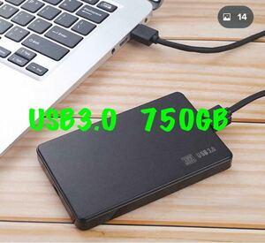 東芝 750GB HDD USB3.0 外付 ポータブル ハードディスク 2.5 ケース新品 検査済 電源不要 バスパワー