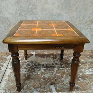 札幌発 ビンテージ 浜本工芸 タイル サイドテーブル 北欧スタイル 木製 KB