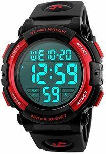 3-レッド 腕時計 メンズ デジタル スポーツ 50メートル防水 おしゃれ 多機能 LED表示 アウトドア 腕時計(レッド)