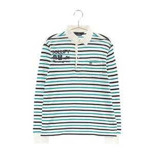 【即決】MUNSING WEAR マンシングウェア 長袖ポロシャツ ボーダー柄 ホワイト系 M [240001560433] ゴルフウェア メンズ