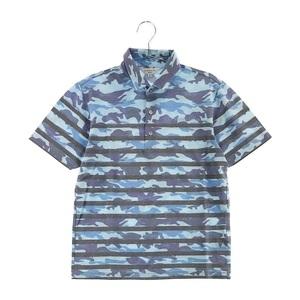 【即決】LANVIN SPORT ランバン スポール 半袖ポロシャツ 迷彩柄×ボーダー柄 カモフラ ブルー系 38 [240001607758] ゴルフウェア メンズ