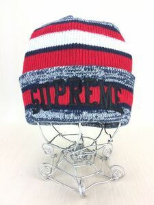 Supreme◆ニットキャップ/-/アクリル/RED/レッド/Heather Stripe Beanie/17AW