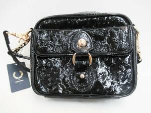未使用 FRED PERRY フレッドペリー L2196 エナメル レザー ミニ ショルダー バッグ BAG かばん 鞄 斜め掛け 肩掛け 革 ブラック 黒