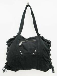 DIESEL ディーゼル 裏総柄 コットン 編み込み トート ハンド バッグ 鞄 BAG かばん 刻印 ジップ ブラック×ホワイト 黒 白