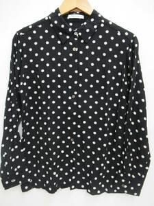 日本製 HELIOPOLE エリオポール 4191-1700B ドット柄 水玉 長袖 シャツ キュプラ×レーヨン ブラウス 柄シャツ 38 ブラック×ホワイト 黒
