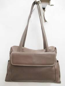 美品 イタリア製 VERA PELLE ヴェラ ペレ 革 レザー ショルダー トート バッグ ハンド BAG 鞄 かばん 手持ち 斜め掛け 肩掛け ブラウン 茶
