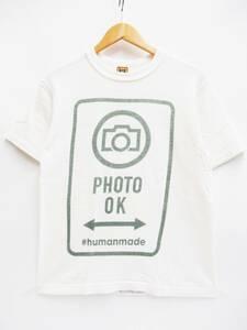 日本製 HUMAN MADE ヒューマンメイド PHOTO OK 半袖 プリント Tシャツ 綿 コットン S/S 丸首 トップス カットソー S ホワイト系