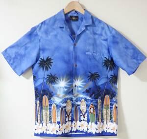 2566/ROYAL CREATIONS アロハシャツ made in HAWAII USA製●ネコポス可●オープンシャツ半袖サーフボード柄ロイヤルクリエーションズ古着