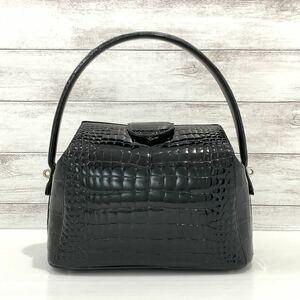 シャイニングクロコダイル ハンドバッグ ブラック 本物 ワニ革 レディースバッグ