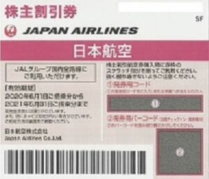 【番号通知・クレカOK・1時間以内通知確約(6~22時まで)】JAL 日航 日本航空 株主優待券 1枚 (延長後有効期限2021年11月30日)④