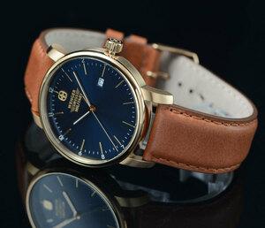 1円開始 ウエンガーWENGER スイス製時計 100m防水 視認性高いダークブルー SWISS MILITARY クオーツ メンズ 腕時計