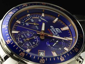 1円 カシオ逆輸入EDIFICEエディフィス欧米モデル 鮮烈ネイビーブルー 100m防水 クロノグラフ 腕時計 新品 未使用 CASIO メンズ 1スタ