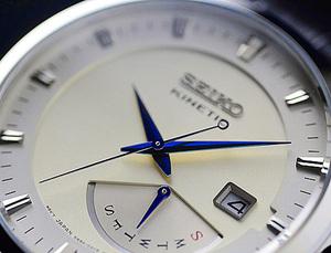 逆輸入セイコー 世界特許キネティック&レトログラード機構搭載 美しい青針 100m防水 本革ベルト メンズ腕時計SEIKO 新品未使用 1円×3本